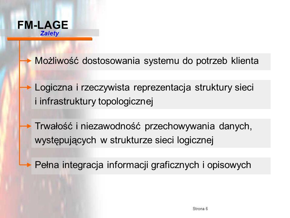 Strona 6 Możliwość dostosowania systemu do potrzeb klienta Logiczna i rzeczywista reprezentacja struktury sieci i infrastruktury topologicznej Trwałoś