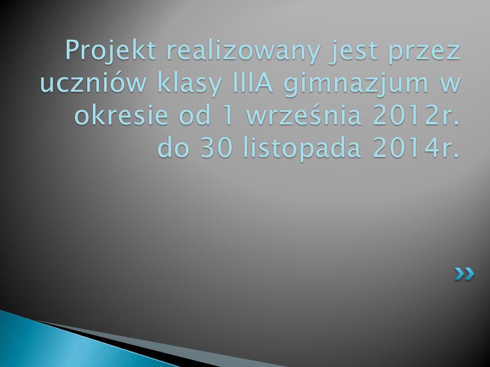 Projekt realizowany jest przez uczniów klasy IIIA gimnazjum w okresie od 1 września 2012r. do 30 listopada 2014r.