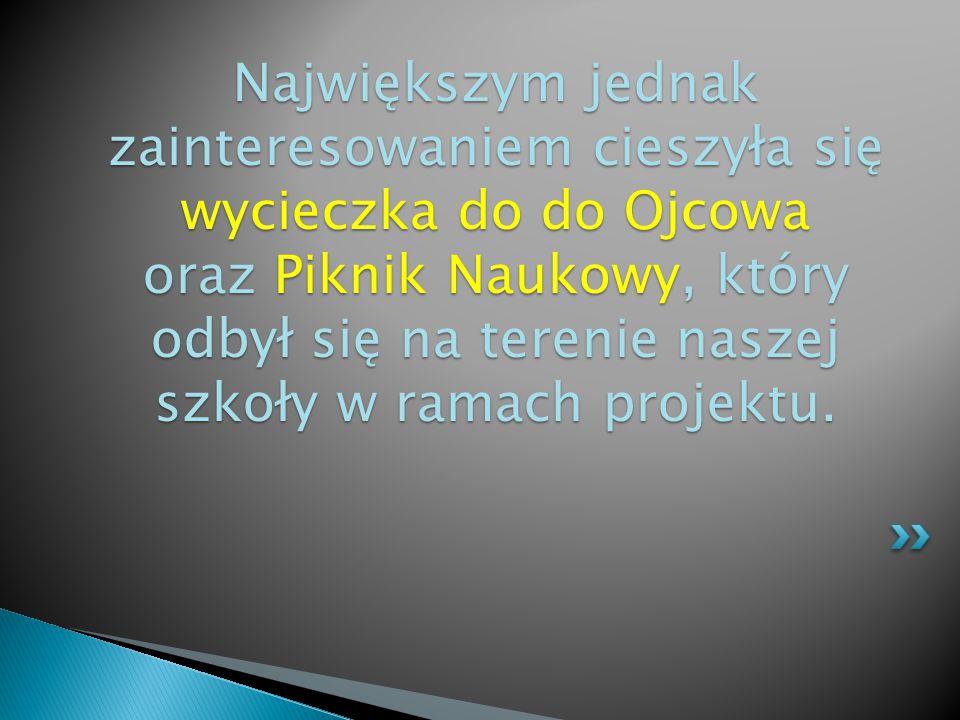 Największym jednak zainteresowaniem cieszyła się wycieczka do do Ojcowa oraz Piknik Naukowy, który odbył się na terenie naszej szkoły w ramach projektu.