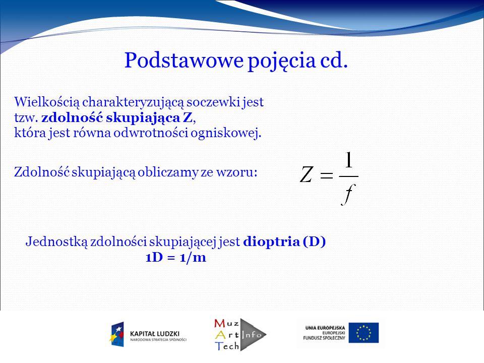 Podstawowe pojęcia cd. Wielkością charakteryzującą soczewki jest tzw. zdolność skupiająca Z, która jest równa odwrotności ogniskowej. Zdolność skupiaj