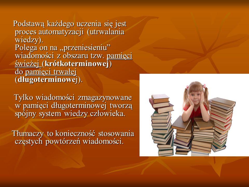 """Podstawą każdego uczenia się jest proces automatyzacji (utrwalania wiedzy). Polega on na """"przeniesieniu"""" wiadomości z obszaru tzw. pamięci świeżej (kr"""