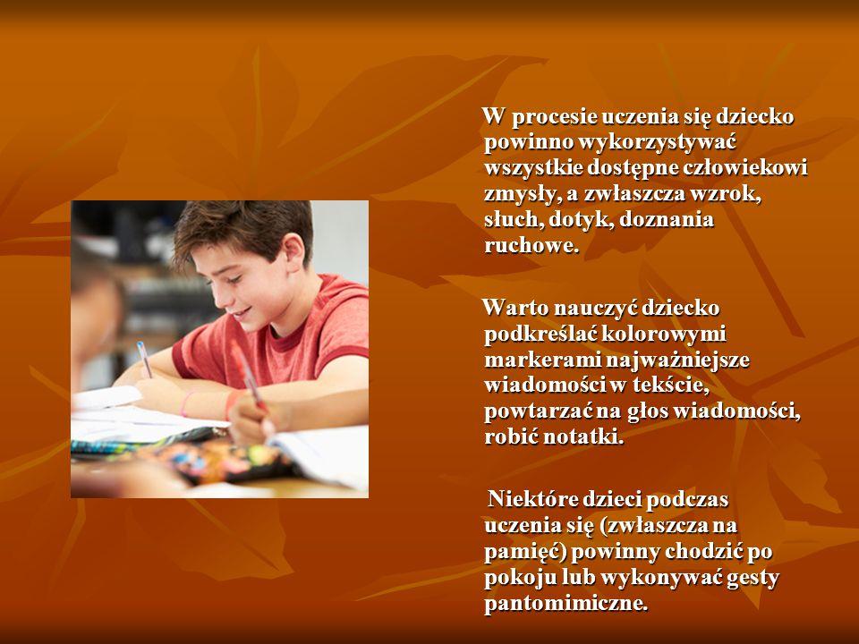 W procesie uczenia się dziecko powinno wykorzystywać wszystkie dostępne człowiekowi zmysły, a zwłaszcza wzrok, słuch, dotyk, doznania ruchowe. W proce