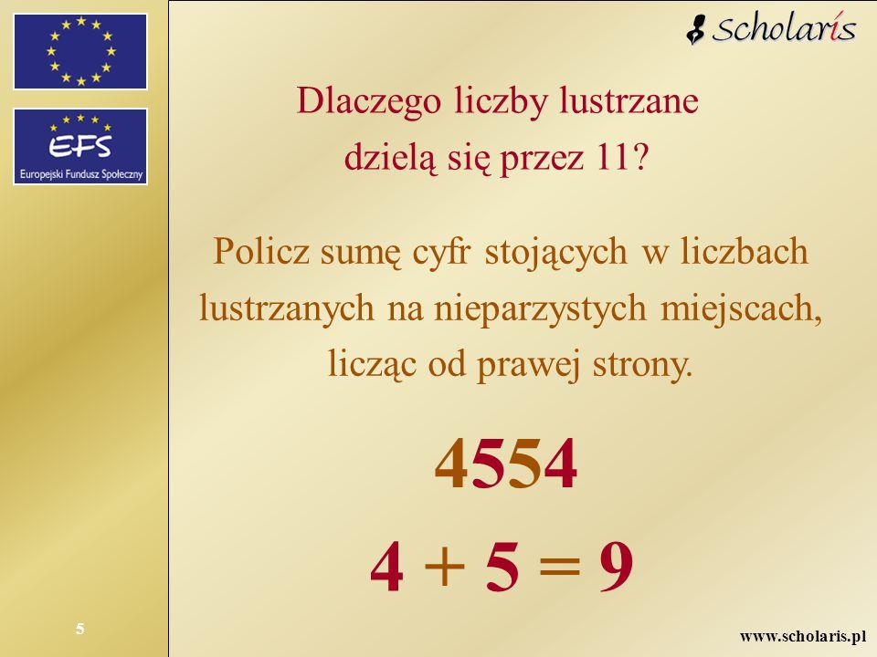 www.scholaris.pl 5 Dlaczego liczby lustrzane dzielą się przez 11? Policz sumę cyfr stojących w liczbach lustrzanych na nieparzystych miejscach, licząc
