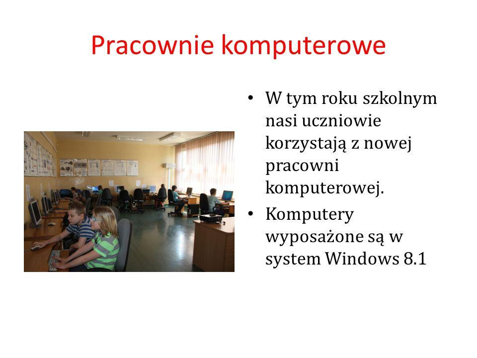 Pracownie komputerowe W tym roku szkolnym nasi uczniowie korzystają z nowej pracowni komputerowej. Komputery wyposażone są w system Windows 8.1