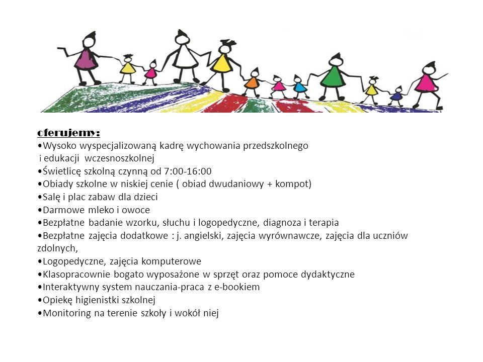 oferujemy: Wysoko wyspecjalizowaną kadrę wychowania przedszkolnego i edukacji wczesnoszkolnej Świetlicę szkolną czynną od 7:00-16:00 Obiady szkolne w niskiej cenie ( obiad dwudaniowy + kompot) Salę i plac zabaw dla dzieci Darmowe mleko i owoce Bezpłatne badanie wzorku, słuchu i logopedyczne, diagnoza i terapia Bezpłatne zajęcia dodatkowe : j.