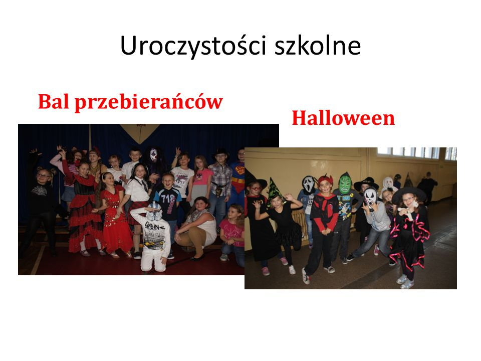 Uroczystości szkolne Bal przebierańców Halloween