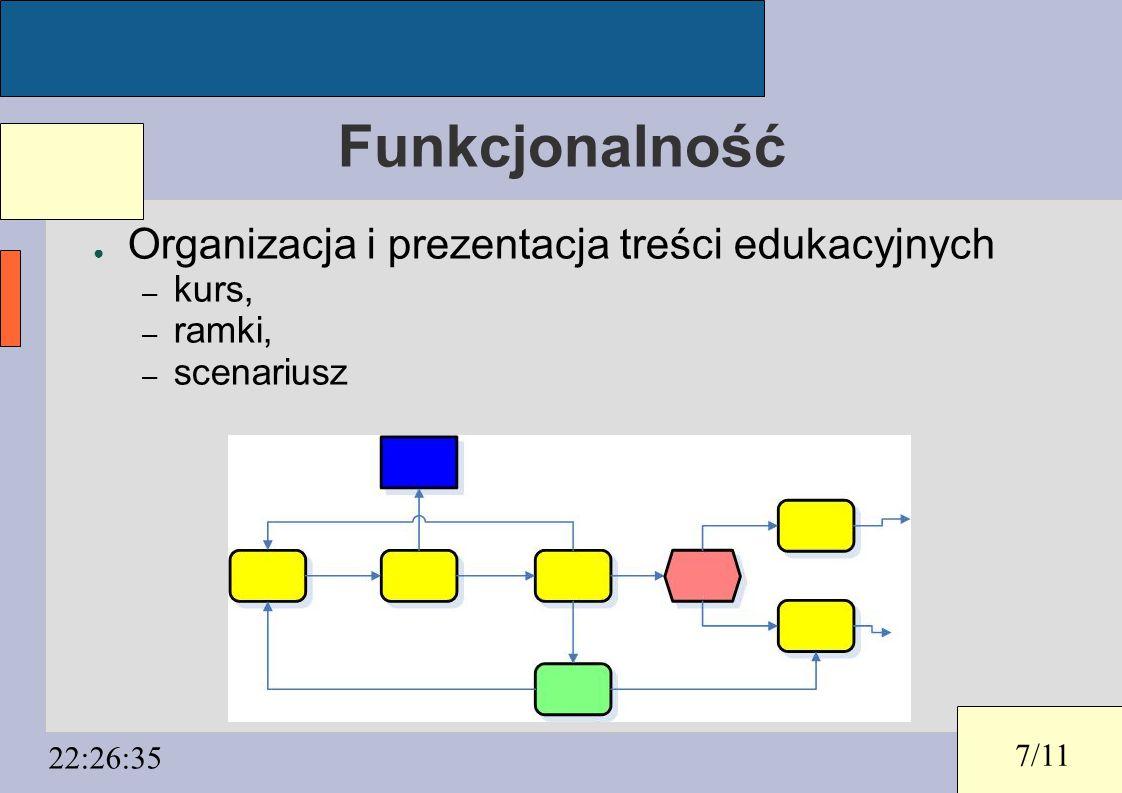 7/11 22:26:35 Funkcjonalność ● Organizacja i prezentacja treści edukacyjnych – kurs, – ramki, – scenariusz