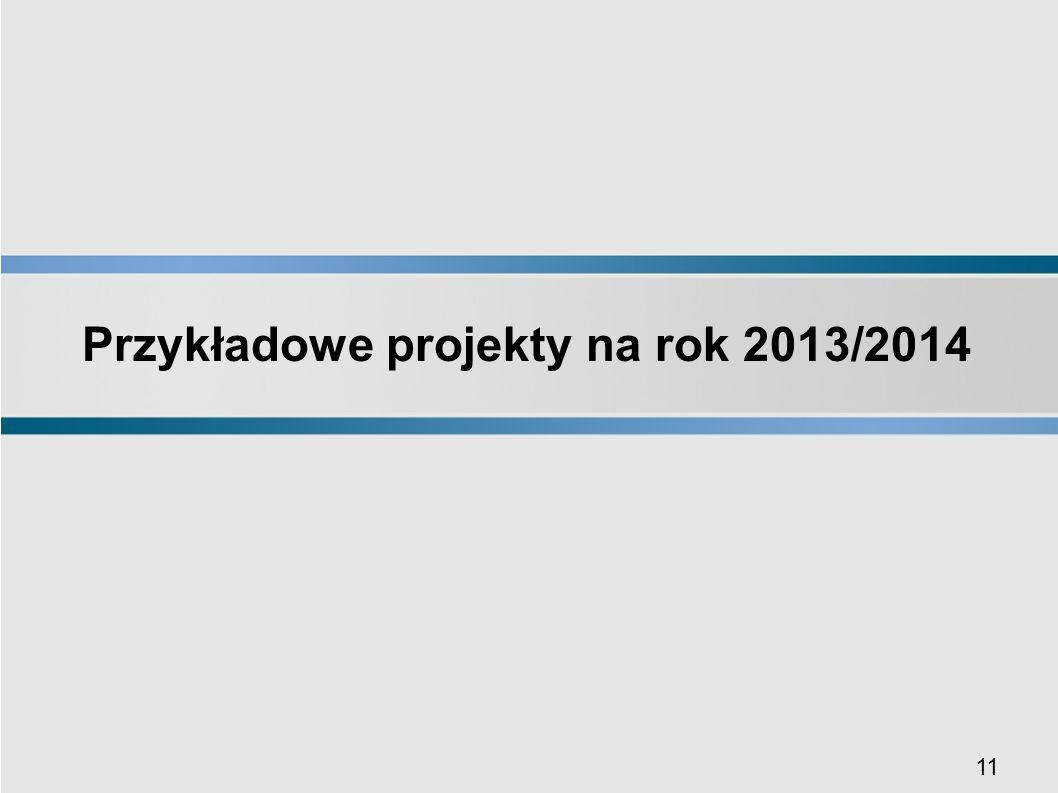11 Przykładowe projekty na rok 2013/2014