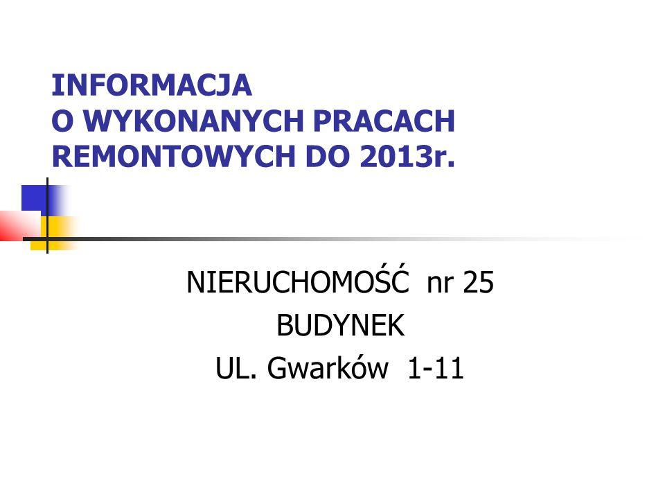 INFORMACJA O WYKONANYCH PRACACH REMONTOWYCH DO 2013r. NIERUCHOMOŚĆ nr 25 BUDYNEK UL. Gwarków 1-11