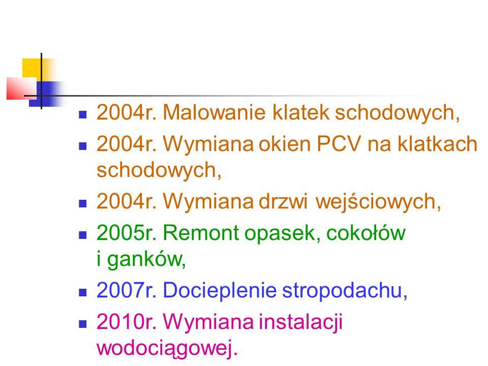 2004r. Malowanie klatek schodowych, 2004r. Wymiana okien PCV na klatkach schodowych, 2004r.