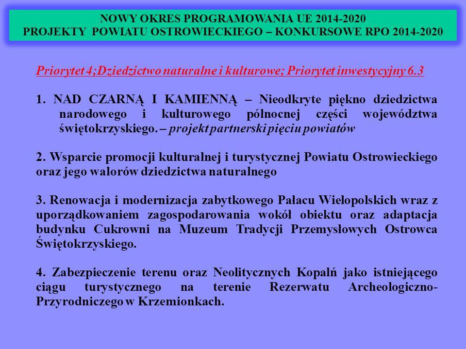 NOWY OKRES PROGRAMOWANIA UE 2014-2020 PROJEKTY POWIATU OSTROWIECKIEGO – KONKURSOWE RPO 2014-2020 Priorytet 4;Dziedzictwo naturalne i kulturowe; Priorytet inwestycyjny 6.3 1.