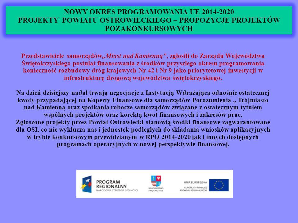 """NOWY OKRES PROGRAMOWANIA UE 2014-2020 PROJEKTY POWIATU OSTROWIECKIEGO – PROPOZYCJE PROJEKTÓW POZAKONKURSOWYCH Przedstawiciele samorządów""""Miast nad Kamienną , zgłosili do Zarządu Województwa Świętokrzyskiego postulat finansowania z środków przyszłego okresu programowania konieczność rozbudowy dróg krajowych Nr 42 i Nr 9 jako priorytetowej inwestycji w infrastrukturę drogową województwa świętokrzyskiego."""