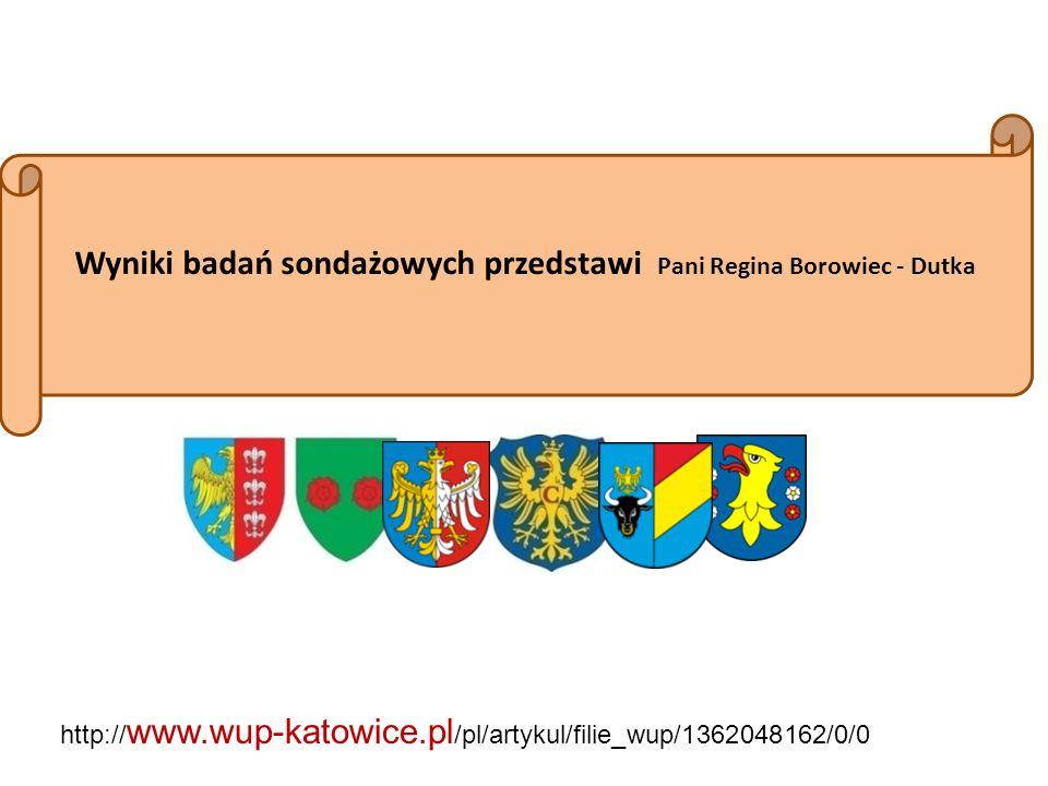 Wyniki badań sondażowych przedstawi Pani Regina Borowiec - Dutka http:// www.wup-katowice.pl /pl/artykul/filie_wup/1362048162/0/0