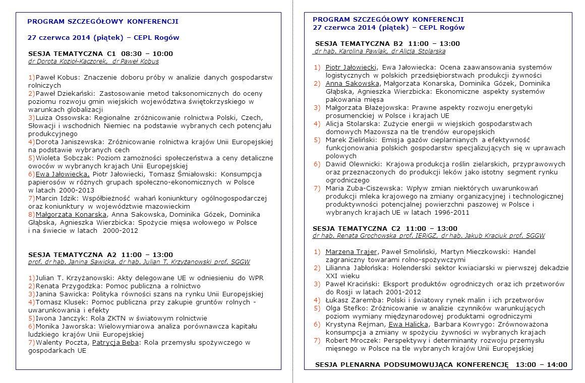 PROGRAM SZCZEGÓŁOWY KONFERENCJI 27 czerwca 2014 (piątek) – CEPL Rogów SESJA TEMATYCZNA B2 11:00 – 13:00 dr hab. Karolina Pawlak, dr Alicja Stolarska 1