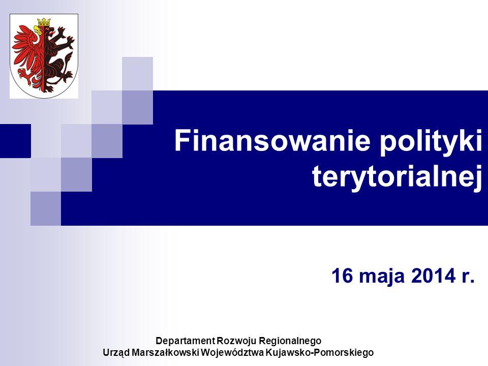 Finansowanie polityki terytorialnej 16 maja 2014 r.