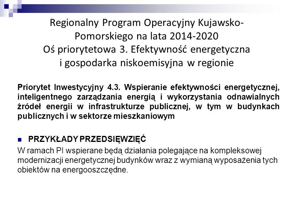 Regionalny Program Operacyjny Kujawsko- Pomorskiego na lata 2014-2020 Oś priorytetowa 3.