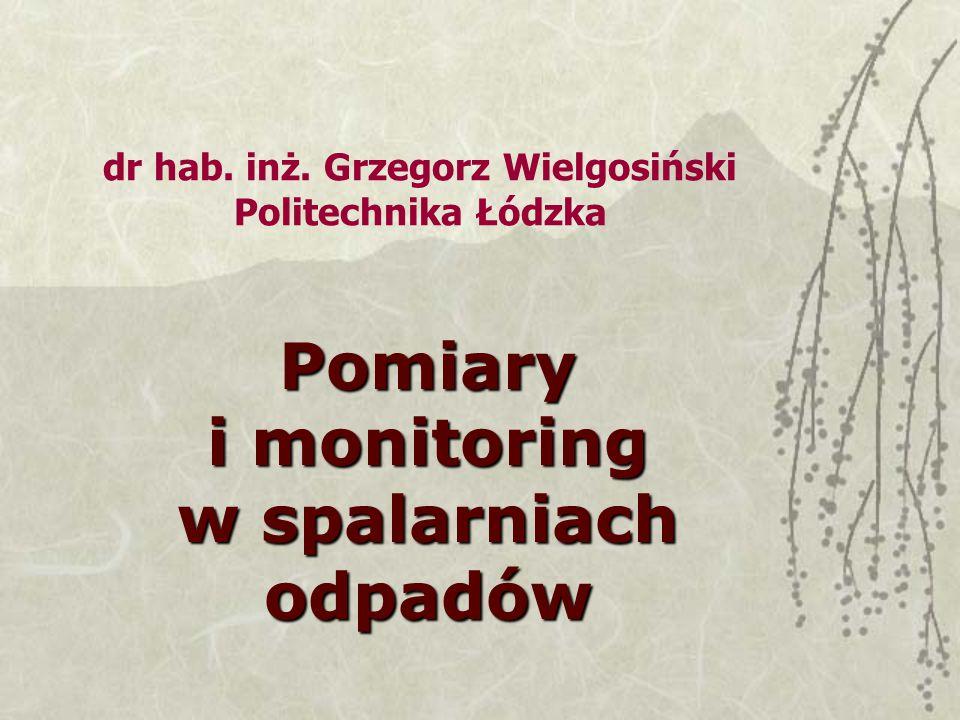 dr hab. inż. Grzegorz Wielgosiński Politechnika Łódzka Pomiary i monitoring w spalarniach odpadów