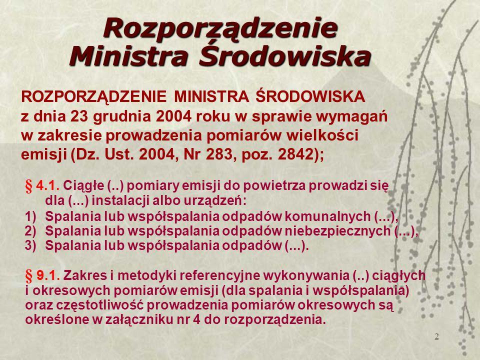 2 Rozporządzenie Ministra Środowiska ROZPORZĄDZENIE MINISTRA ŚRODOWISKA z dnia 23 grudnia 2004 roku w sprawie wymagań w zakresie prowadzenia pomiarów wielkości emisji (Dz.