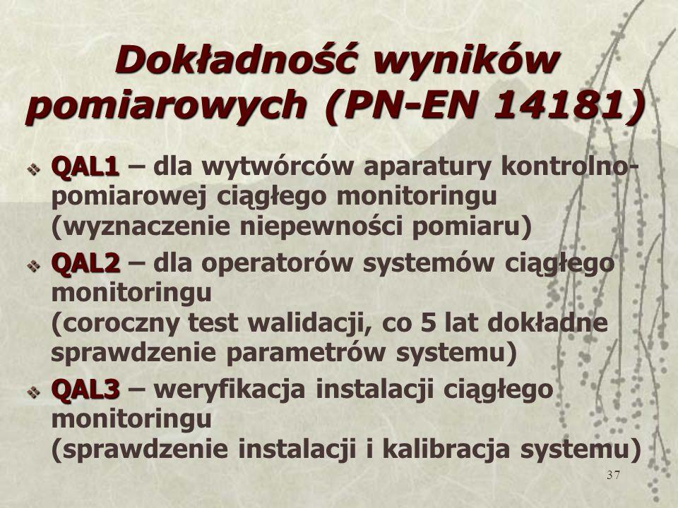 37 Dokładność wyników pomiarowych (PN-EN 14181)  QAL1  QAL1 – dla wytwórców aparatury kontrolno- pomiarowej ciągłego monitoringu (wyznaczenie niepewności pomiaru)  QAL2  QAL2 – dla operatorów systemów ciągłego monitoringu (coroczny test walidacji, co 5 lat dokładne sprawdzenie parametrów systemu)  QAL3  QAL3 – weryfikacja instalacji ciągłego monitoringu (sprawdzenie instalacji i kalibracja systemu)