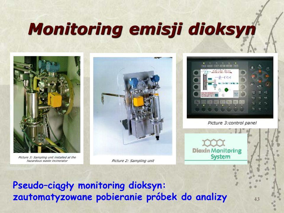 43 Monitoring emisji dioksyn Pseudo–ciągły monitoring dioksyn: zautomatyzowane pobieranie próbek do analizy