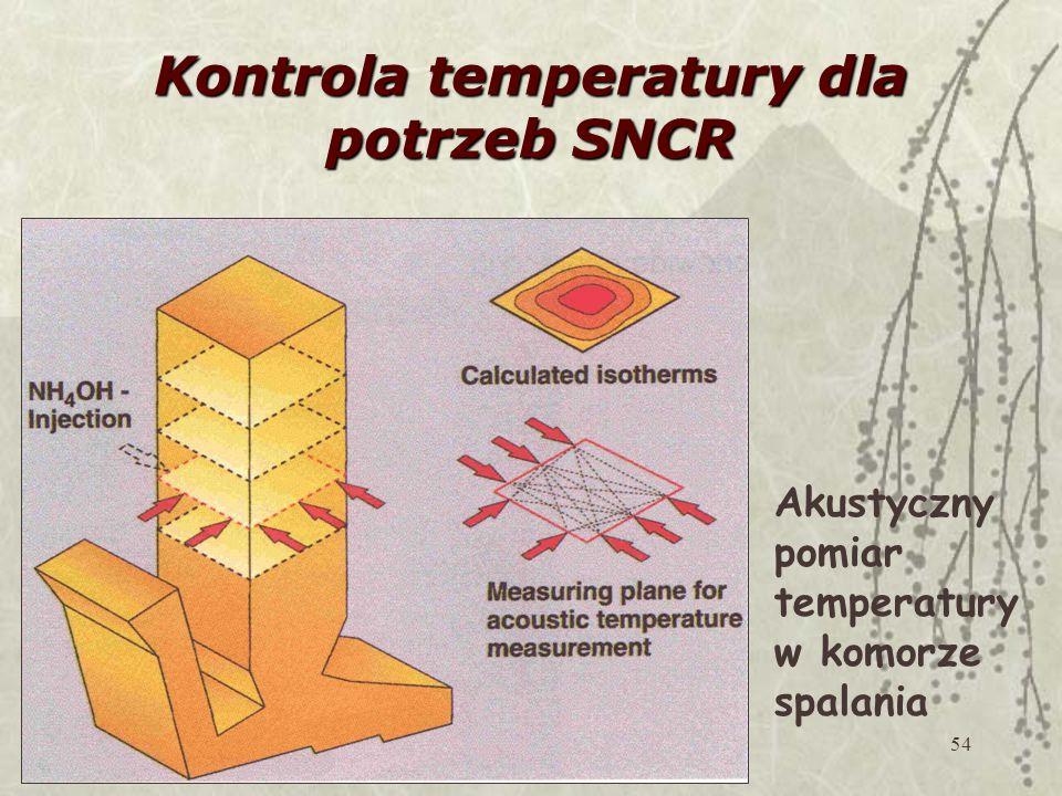54 Kontrola temperatury dla potrzeb SNCR Akustyczny pomiar temperatury w komorze spalania