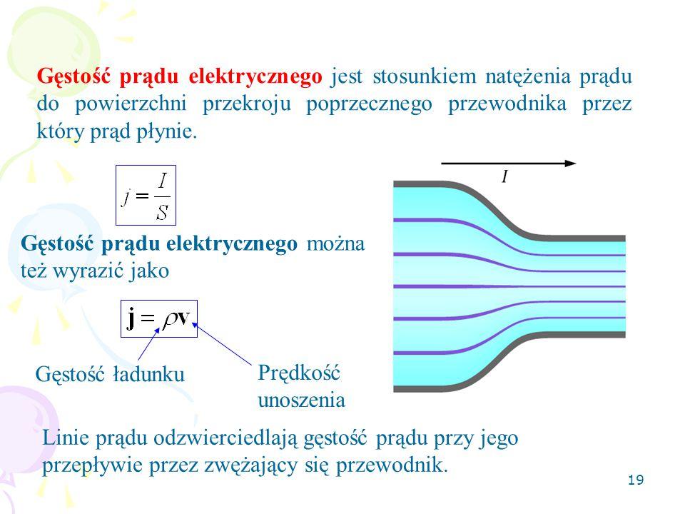 19 Gęstość prądu elektrycznego jest stosunkiem natężenia prądu do powierzchni przekroju poprzecznego przewodnika przez który prąd płynie. Linie prądu