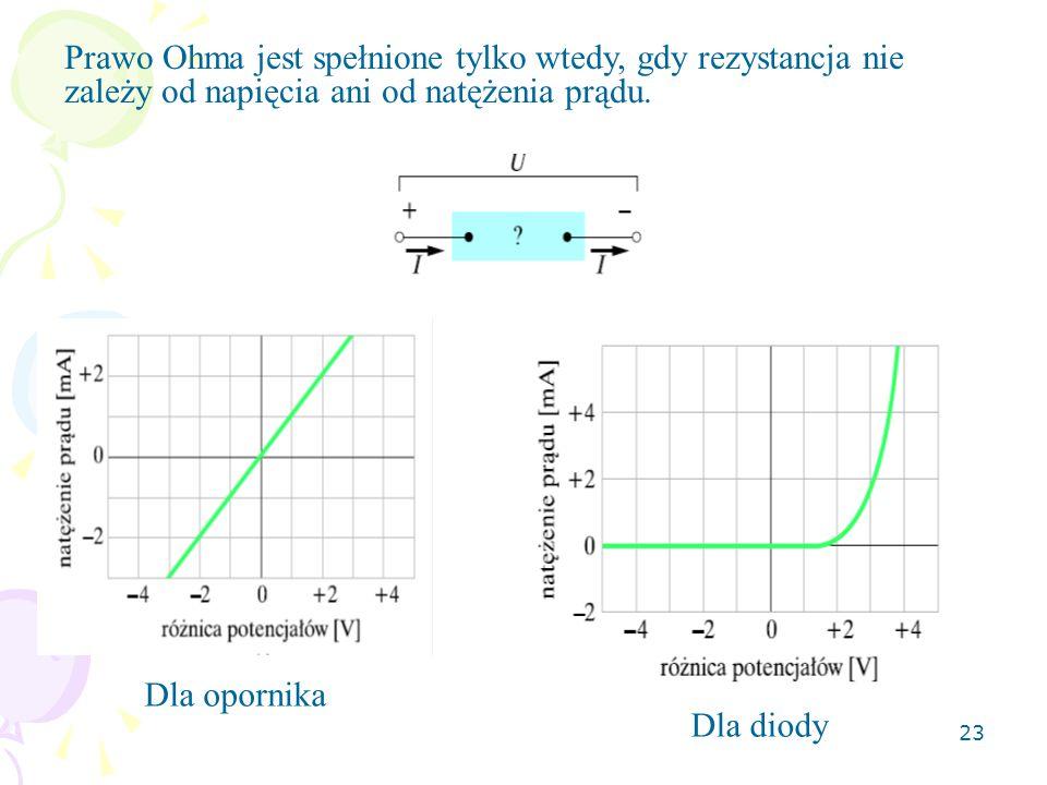 23 Prawo Ohma jest spełnione tylko wtedy, gdy rezystancja nie zależy od napięcia ani od natężenia prądu. Dla opornika Dla diody