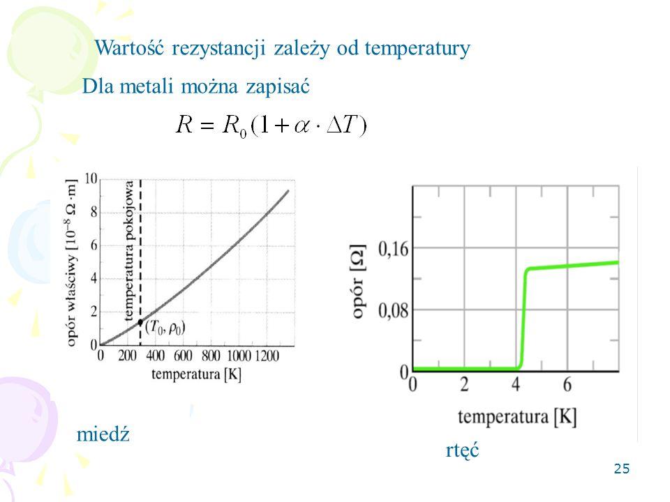 25 Wartość rezystancji zależy od temperatury Dla metali można zapisać miedź rtęć