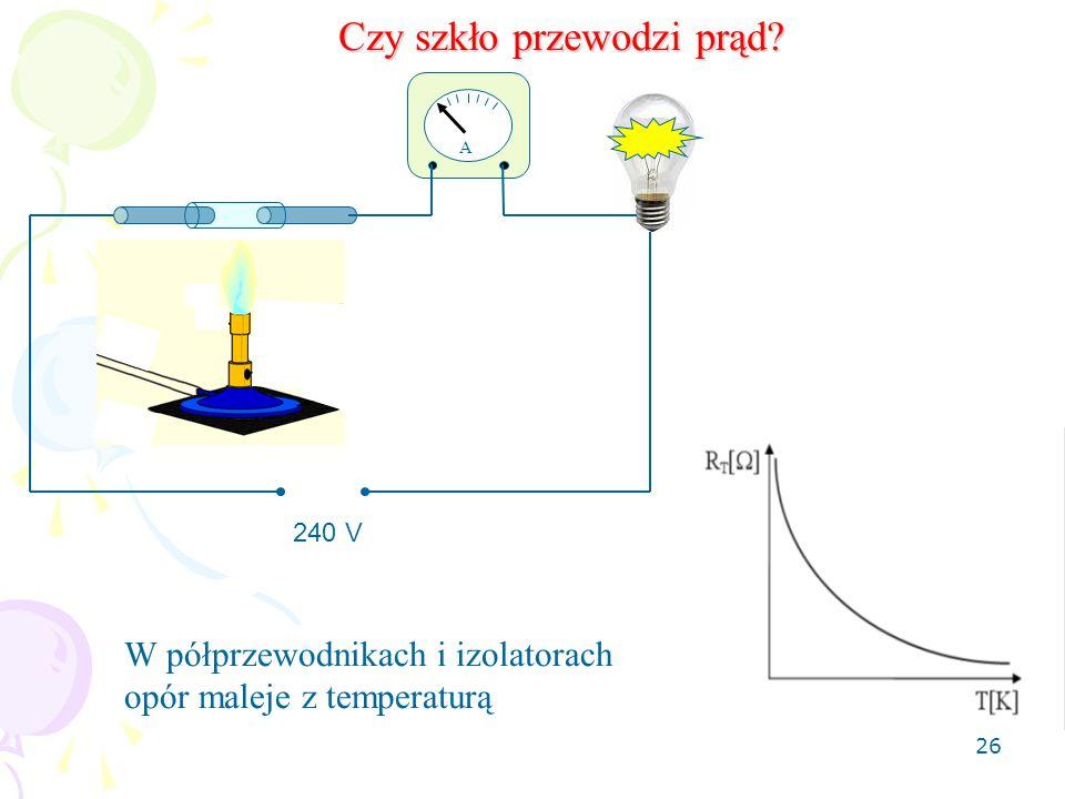 26 A 240 V Czy szkło przewodzi prąd? W półprzewodnikach i izolatorach opór maleje z temperaturą