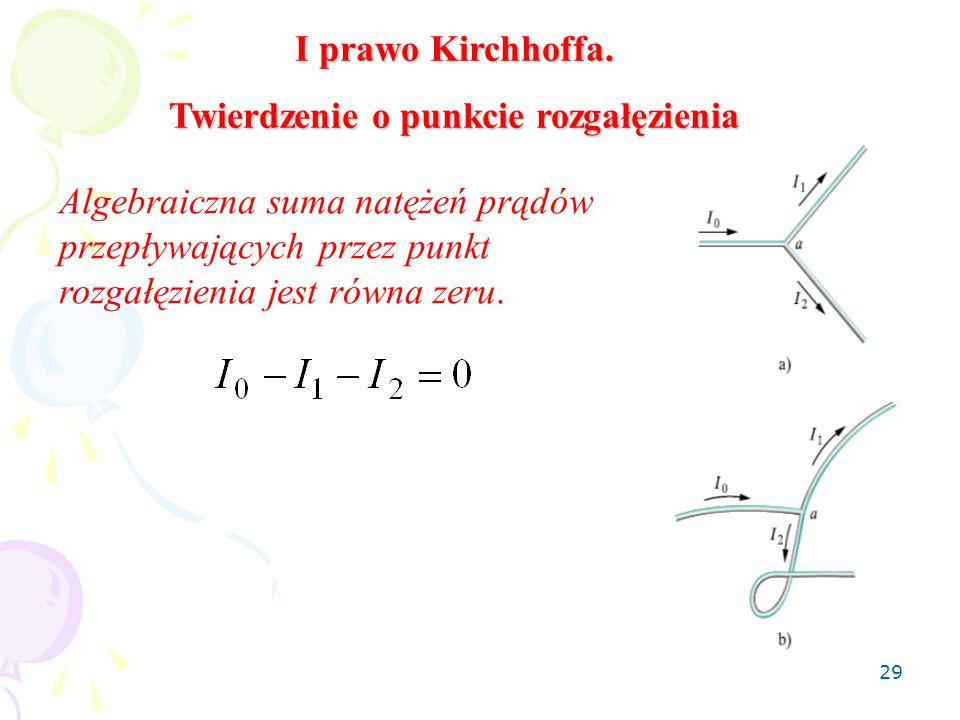 29 I prawo Kirchhoffa. Twierdzenie o punkcie rozgałęzienia Algebraiczna suma natężeń prądów przepływających przez punkt rozgałęzienia jest równa zeru.