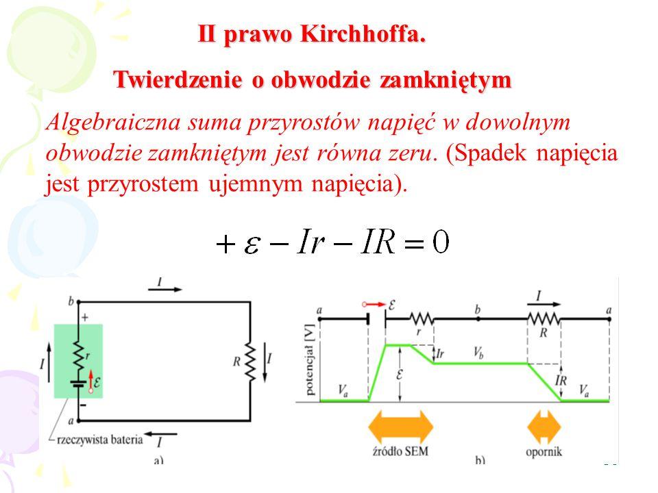30 II prawo Kirchhoffa. Twierdzenie o obwodzie zamkniętym Algebraiczna suma przyrostów napięć w dowolnym obwodzie zamkniętym jest równa zeru. (Spadek