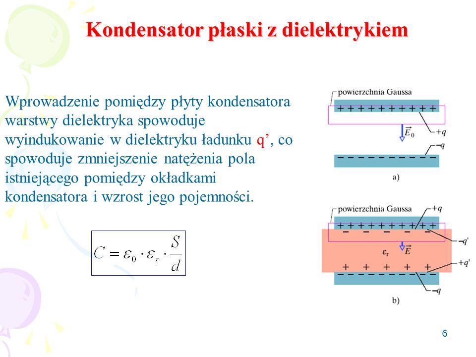 6 Kondensator płaski z dielektrykiem Wprowadzenie pomiędzy płyty kondensatora warstwy dielektryka spowoduje wyindukowanie w dielektryku ładunku q', co