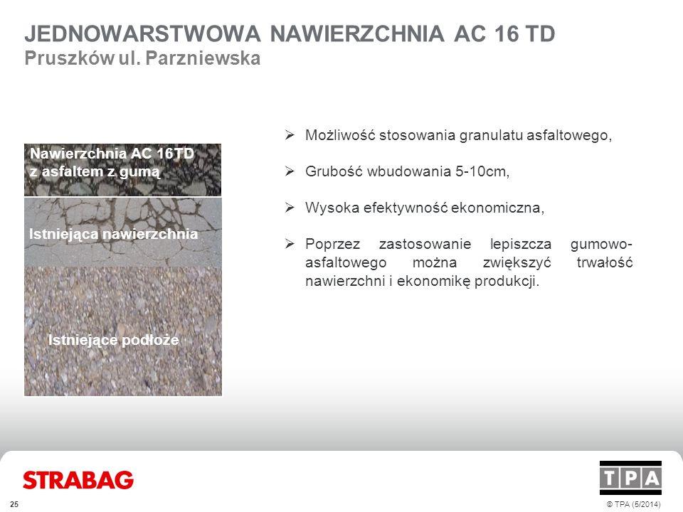 25© TPA (5/2014) JEDNOWARSTWOWA NAWIERZCHNIA AC 16 TD Pruszków ul. Parzniewska  Możliwość stosowania granulatu asfaltowego,  Grubość wbudowania 5-10