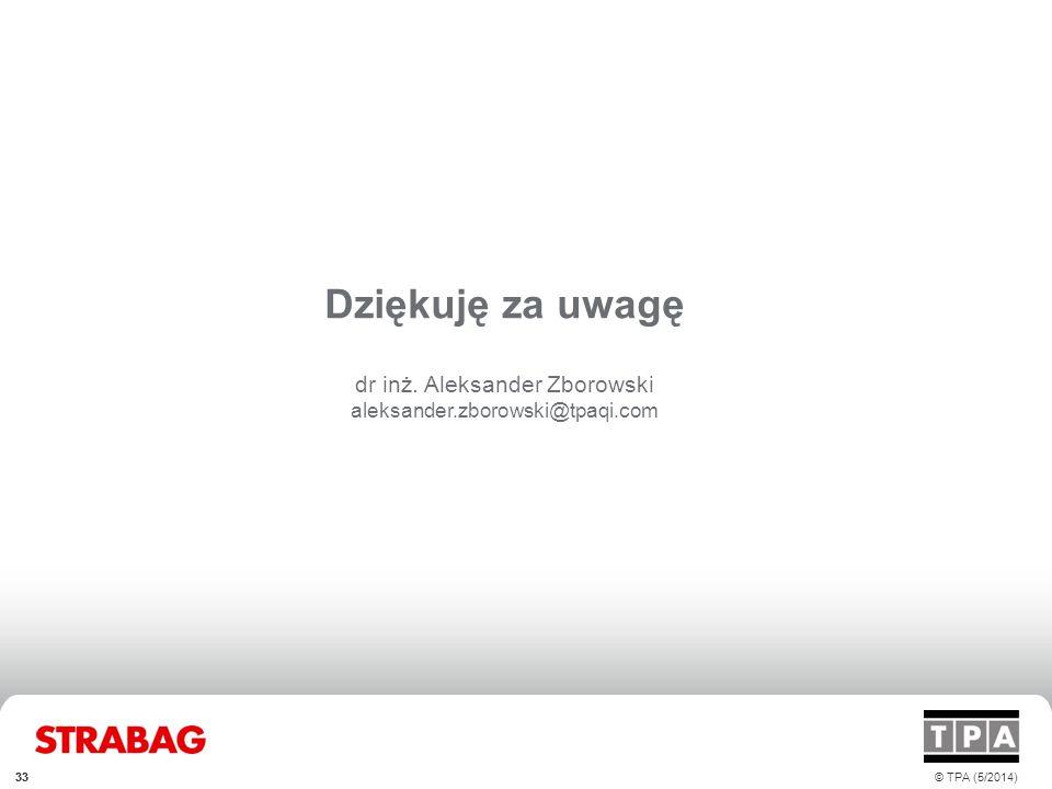 33 Dziękuję za uwagę dr inż. Aleksander Zborowski aleksander.zborowski@tpaqi.com © TPA (5/2014)33