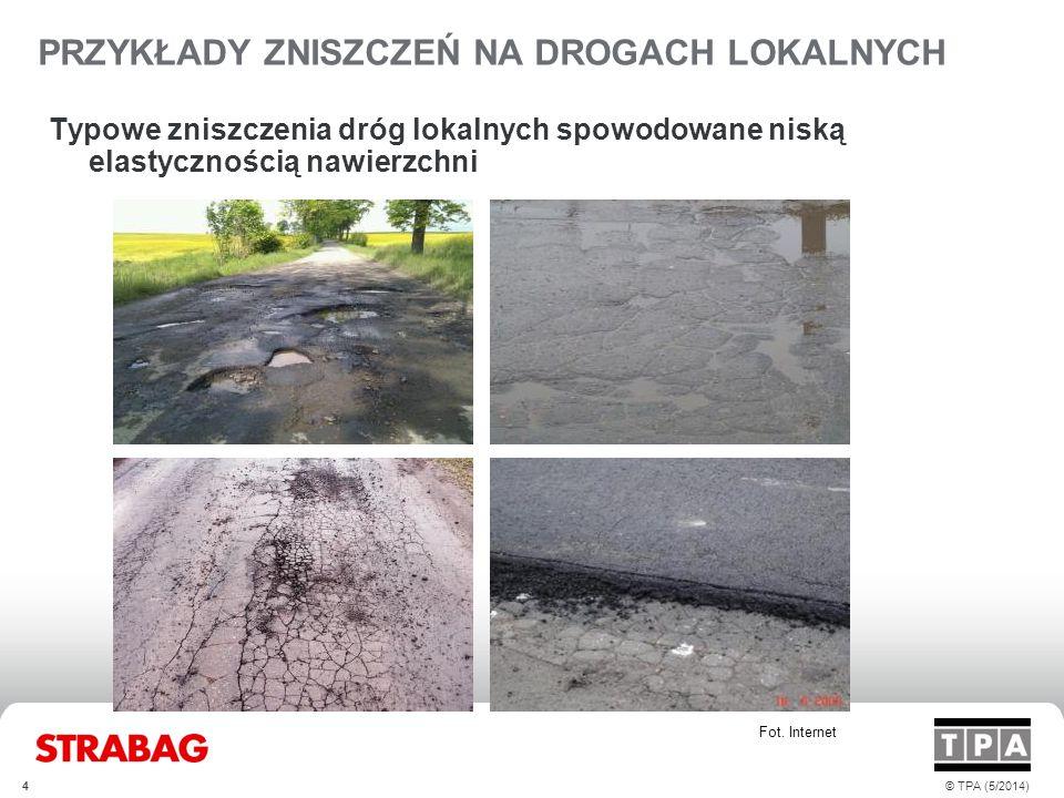 ZNACZENIE LEPISZCZA W MIESZANKACH I NAWIERZCHNI Wpływ właściwości asfaltu na podstawowe rodzaje zniszczeń Udział asfaltu w mieszance mineralno-asfaltowej Ilość Koszt Asfalt drogowy Koszt Asfalt PMB 5© TPA (5/2014)