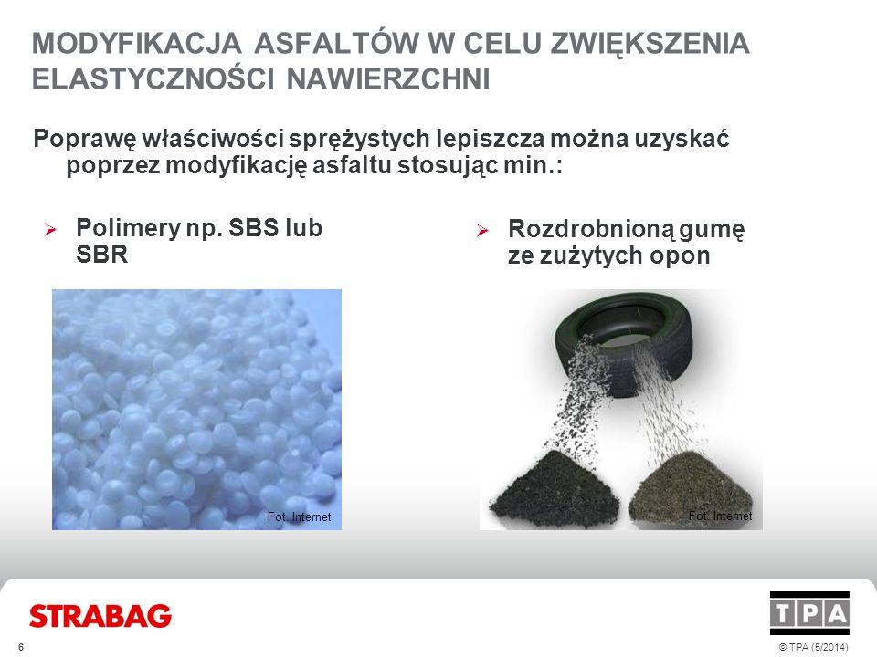 MODYFIKACJA ASFALTÓW W CELU ZWIĘKSZENIA ELASTYCZNOŚCI NAWIERZCHNI Poprawę właściwości sprężystych lepiszcza można uzyskać poprzez modyfikację asfaltu