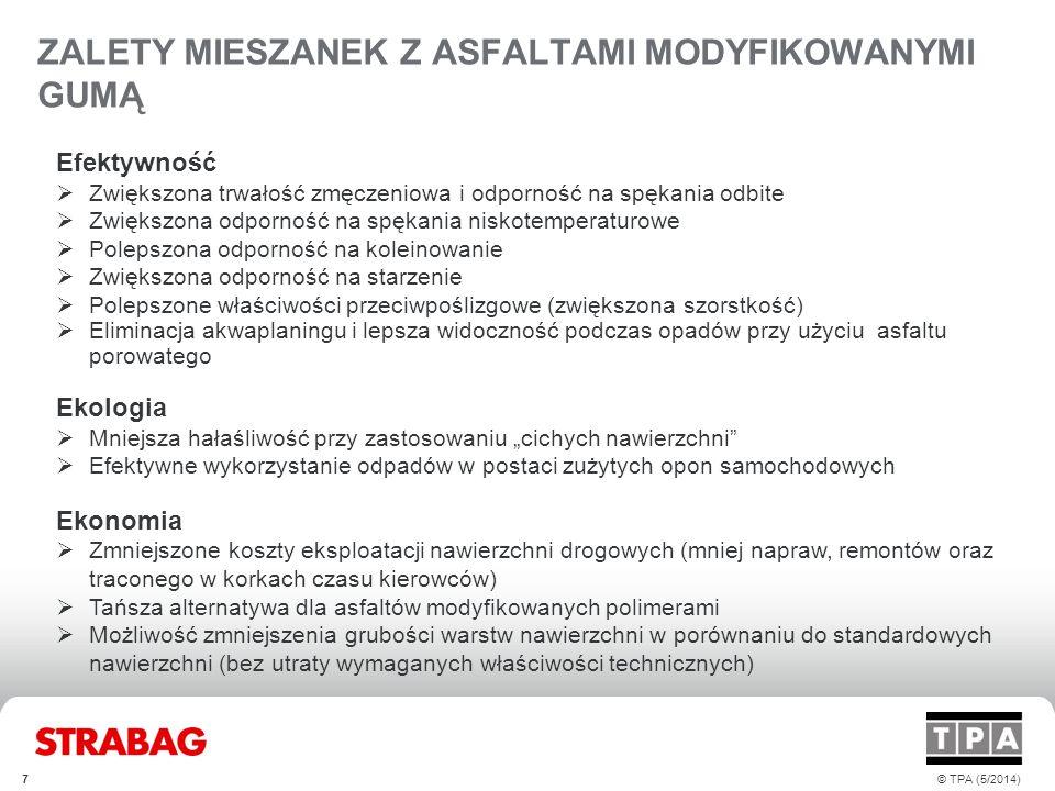 ZALETY MIESZANEK Z ASFALTAMI MODYFIKOWANYMI GUMĄ 7© TPA (5/2014) Efektywność  Zwiększona trwałość zmęczeniowa i odporność na spękania odbite  Zwięks