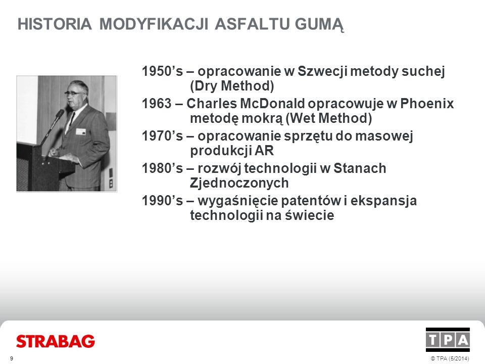 HISTORIA MODYFIKACJI ASFALTU GUMĄ 1950's – opracowanie w Szwecji metody suchej (Dry Method) 1963 – Charles McDonald opracowuje w Phoenix metodę mokrą