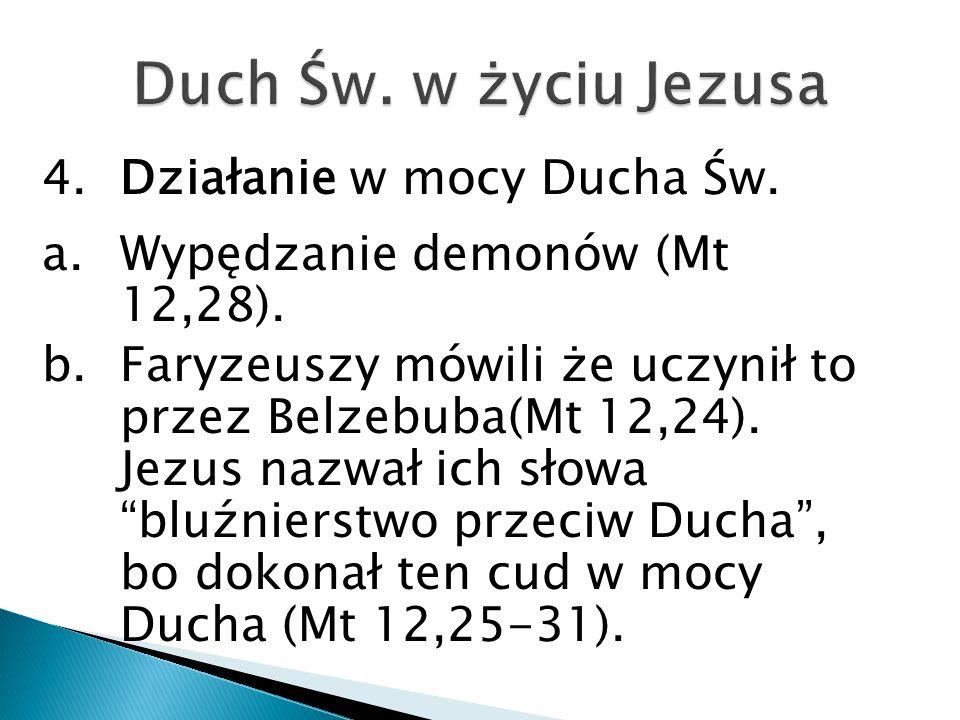 4.Działanie w mocy Ducha Św.a.Wypędzanie demonów (Mt 12,28).
