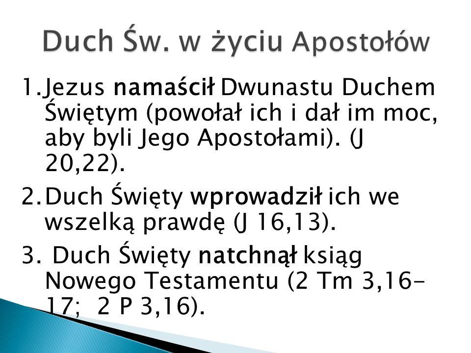 1.Jezus namaścił Dwunastu Duchem Świętym (powołał ich i dał im moc, aby byli Jego Apostołami).