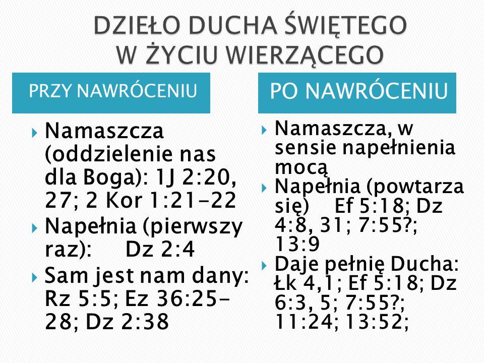 PRZY NAWRÓCENIU PO NAWRÓCENIU  Namaszcza (oddzielenie nas dla Boga): 1J 2:20, 27; 2 Kor 1:21-22  Napełnia (pierwszy raz): Dz 2:4  Sam jest nam dany: Rz 5:5; Ez 36:25- 28; Dz 2:38  Namaszcza, w sensie napełnienia mocą  Napełnia (powtarza się) Ef 5:18; Dz 4:8, 31; 7:55?; 13:9  Daje pełnię Ducha: Łk 4,1; Ef 5:18; Dz 6:3, 5; 7:55?; 11:24; 13:52;