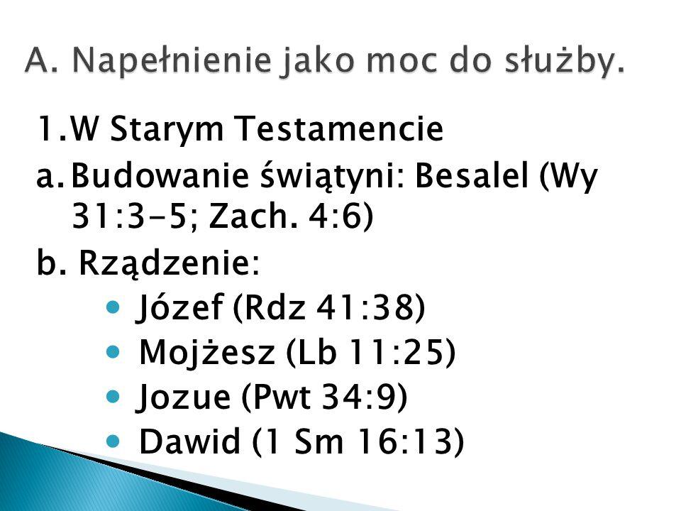 1.W Starym Testamencie a.Budowanie świątyni: Besalel (Wy 31:3-5; Zach.