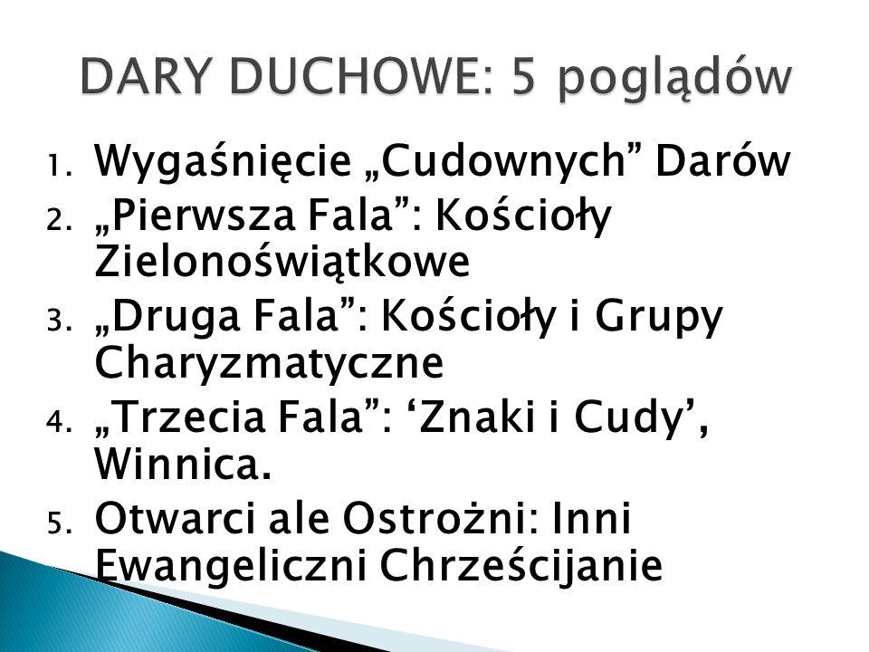 """1.Wygaśnięcie """"Cudownych Darów 2. """"Pierwsza Fala : Kościoły Zielonoświątkowe 3."""