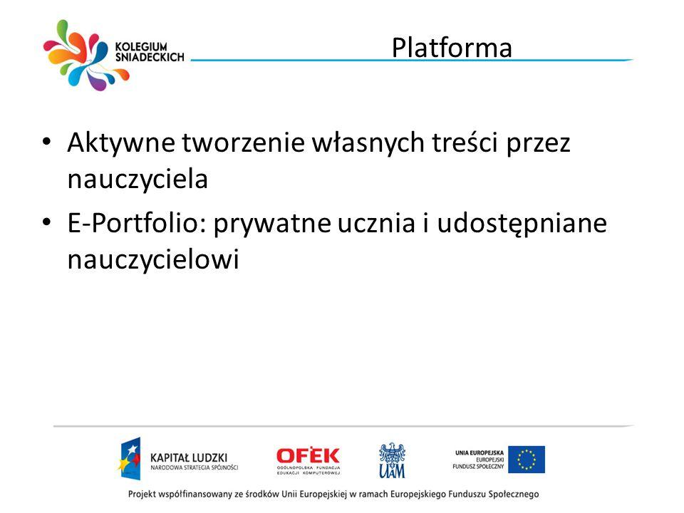 19.06.11 Platforma Aktywne tworzenie własnych treści przez nauczyciela E-Portfolio: prywatne ucznia i udostępniane nauczycielowi