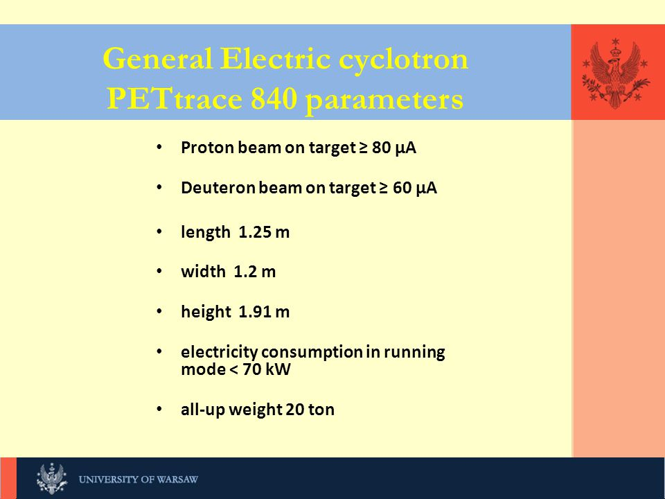 KLIKNIJ, UNIWERSYTET WARSZAWSKI General Electric cyclotron PETtrace 840 parameters Proton beam on target ≥ 80 μA Deuteron beam on target ≥ 60 μA length 1.25 m width 1.2 m height 1.91 m electricity consumption in running mode < 70 kW all-up weight 20 ton