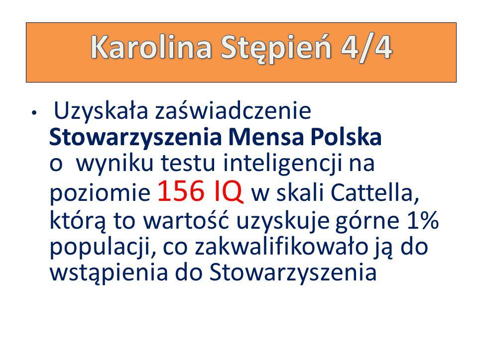 Uzyskała zaświadczenie Stowarzyszenia Mensa Polska o wyniku testu inteligencji na poziomie 156 IQ w skali Cattella, którą to wartość uzyskuje górne 1% populacji, co zakwalifikowało ją do wstąpienia do Stowarzyszenia
