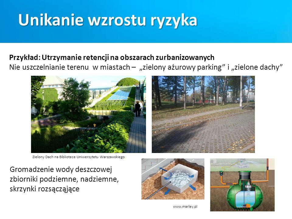 """Przykład: Utrzymanie retencji na obszarach zurbanizowanych Nie uszczelnianie terenu w miastach – """"zielony ażurowy parking"""" i """"zielone dachy"""" Zielony D"""