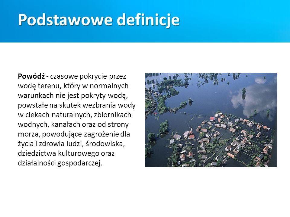 Podstawowe definicje Wezbranie – znaczny wzrost stanów wody w ciekach i jeziorach, wywołany zwiększonym zasilaniem (opady, topnienie śniegu) lub zahamowaniem odpływu (zatory lodowe lub śryżowe, wiatr wiejący przeciwnie do kierunku przepływu wody).