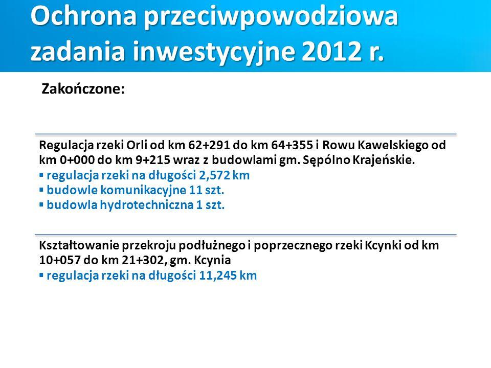Ochrona przeciwpowodziowa zadania inwestycyjne 2012 r. Regulacja rzeki Orli od km 62+291 do km 64+355 i Rowu Kawelskiego od km 0+000 do km 9+215 wraz