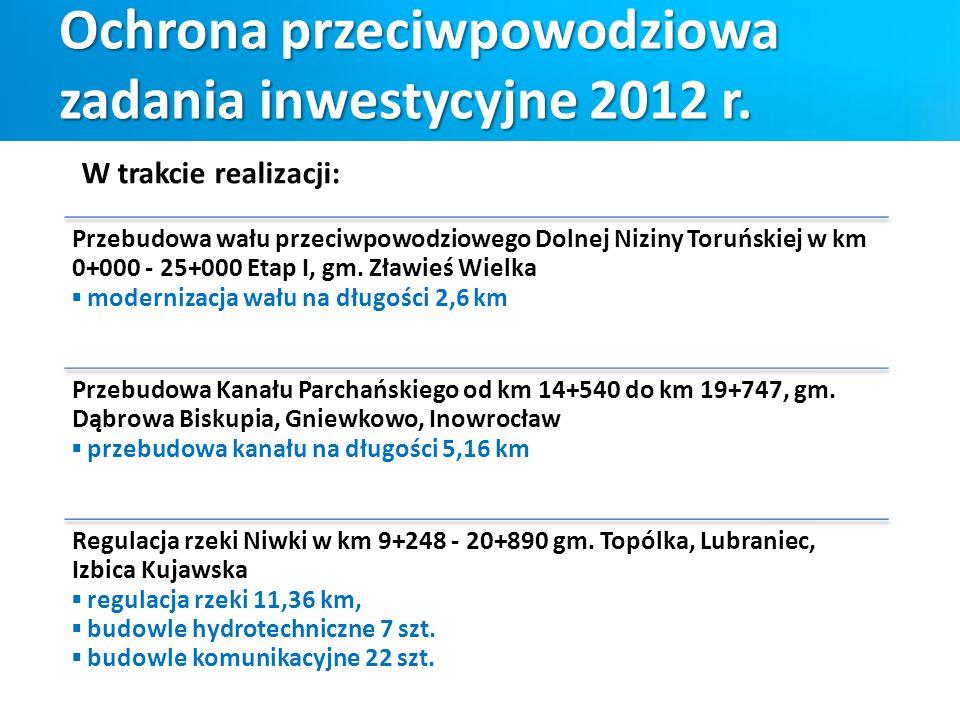 Ochrona przeciwpowodziowa zadania inwestycyjne 2012 r. Przebudowa wału przeciwpowodziowego Dolnej Niziny Toruńskiej w km 0+000 - 25+000 Etap I, gm. Zł